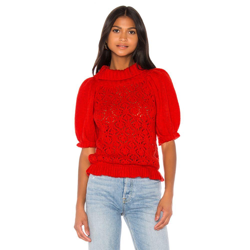 フォーラブアンドレモン For Love & Lemons レディース ニット・セーター ポインテール トップス【Francois Puff Sleeve Pointelle sweater】Hot Red