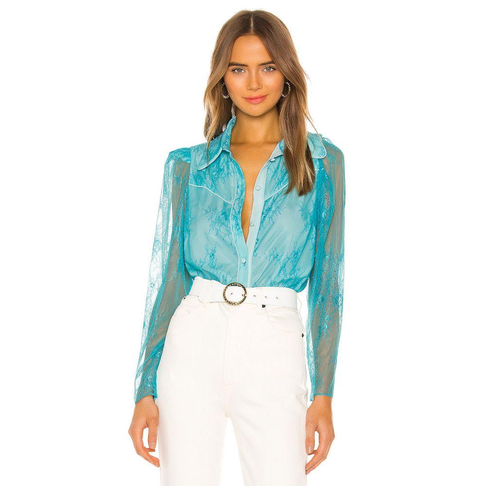 ディバイン ヘリテージ Divine Heritage レディース ブラウス・シャツ トップス【Chantilly Lace Button Up Blouse】Blue Turquoise