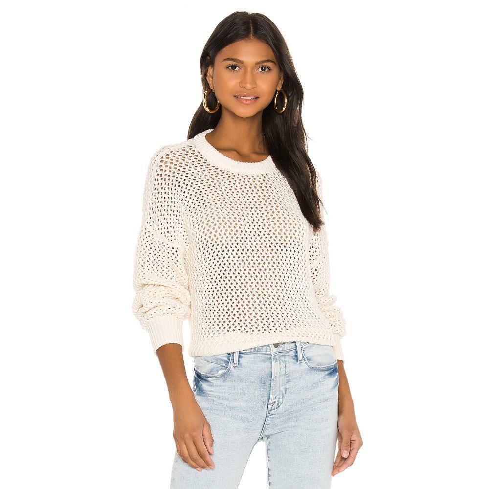 フレーム FRAME レディース ニット・セーター トップス【Open Knit Stripe Crew Sweater】Off White