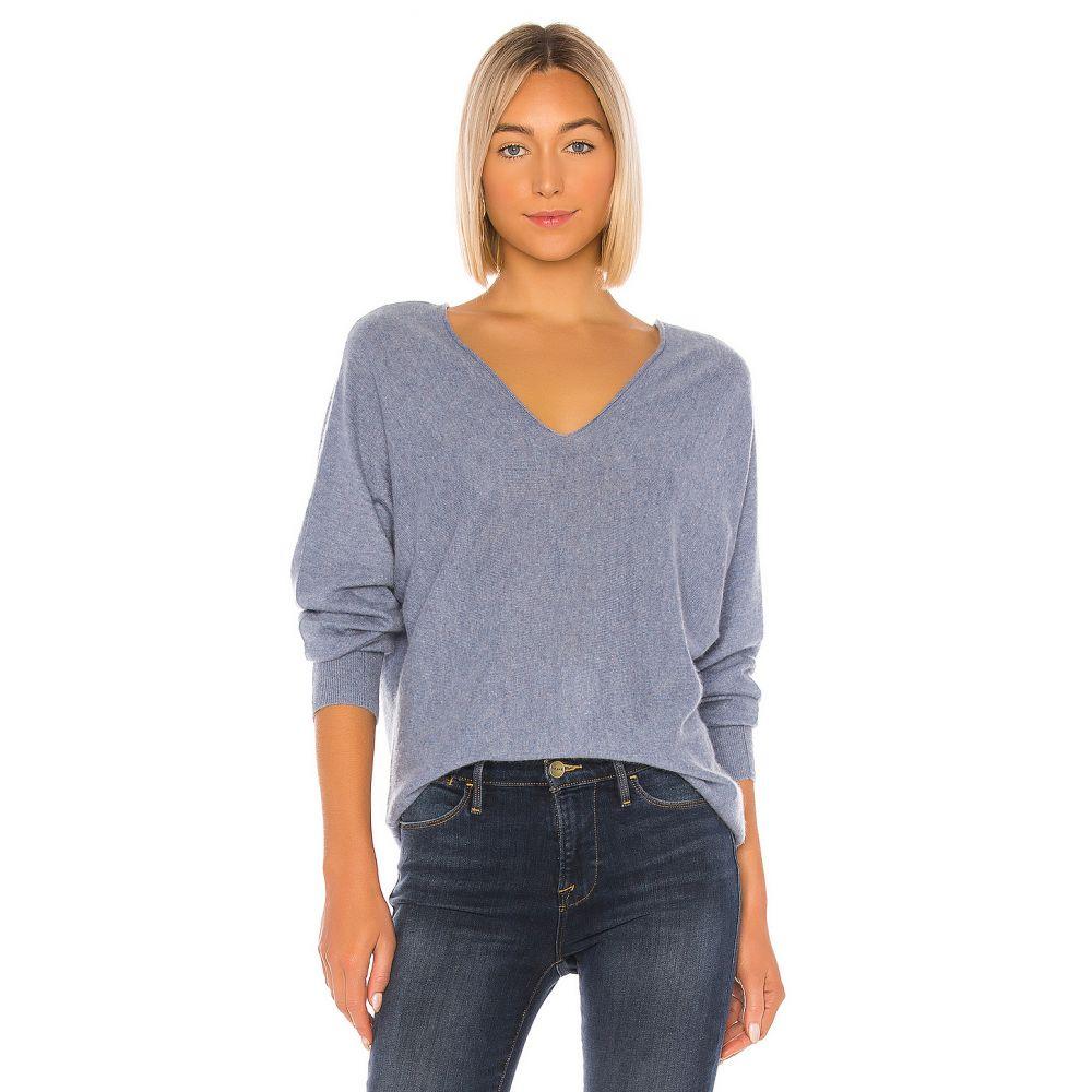ヴィンス Vince レディース ニット・セーター トップス【DBL V Neck Pullover Sweater】Heather Sky Graphite