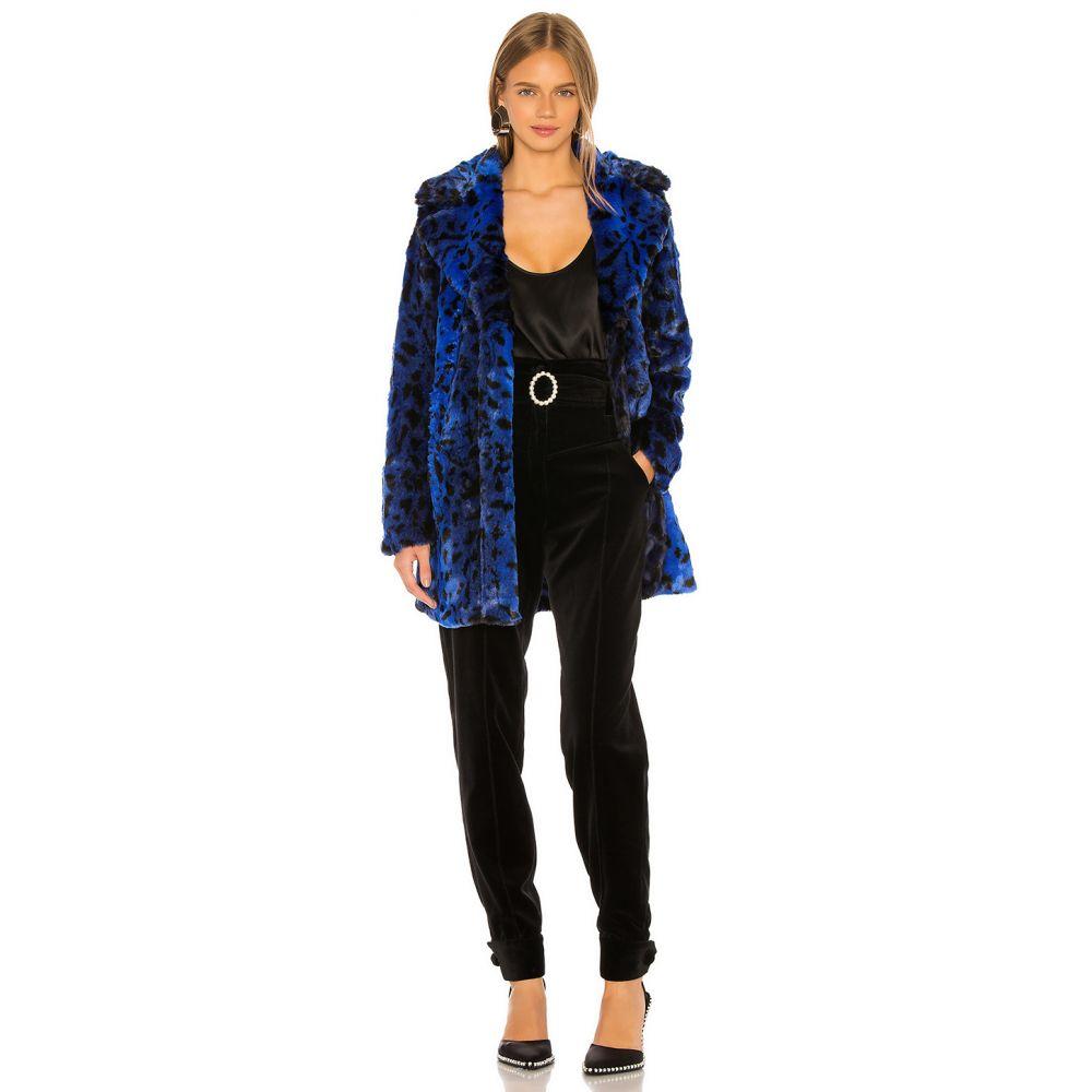 エヌビーディー NBD レディース コート アウター【Stellar Faux Fur Coat】Blue Leopard
