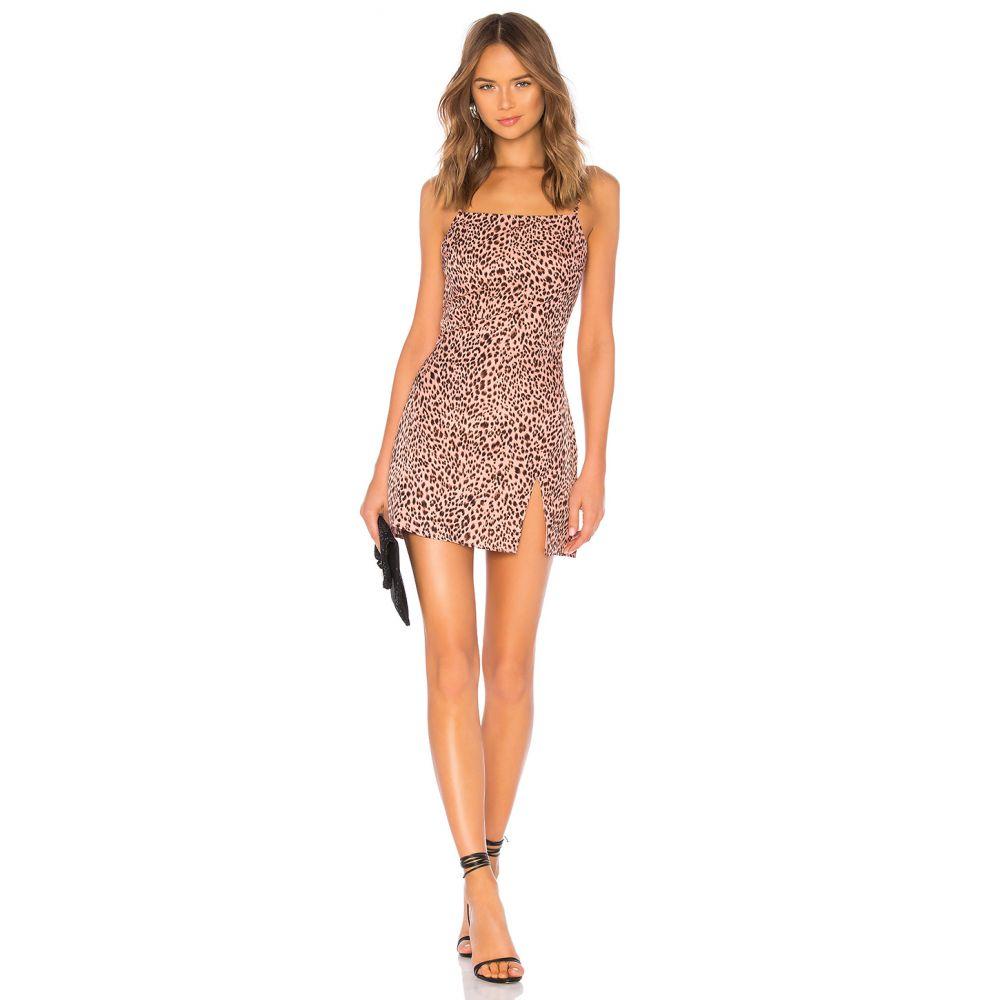 スーパーダウン superdown レディース ボディコンドレス ワンピース・ドレス【Kensley High Slit Shift Dress】Pink Leopard
