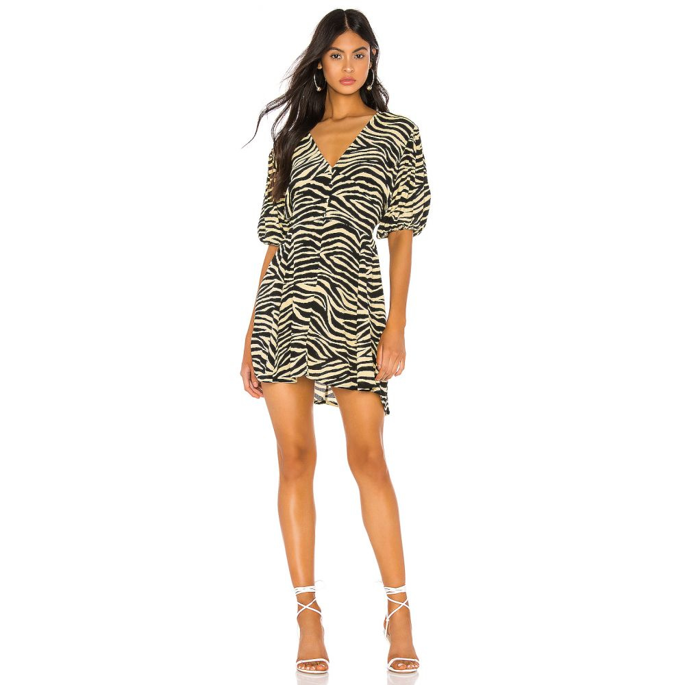 フェイスフルザブランド FAITHFULL THE BRAND レディース ワンピース ワンピース・ドレス【Ilia Dress】Pale Yellow Amaia Zebra