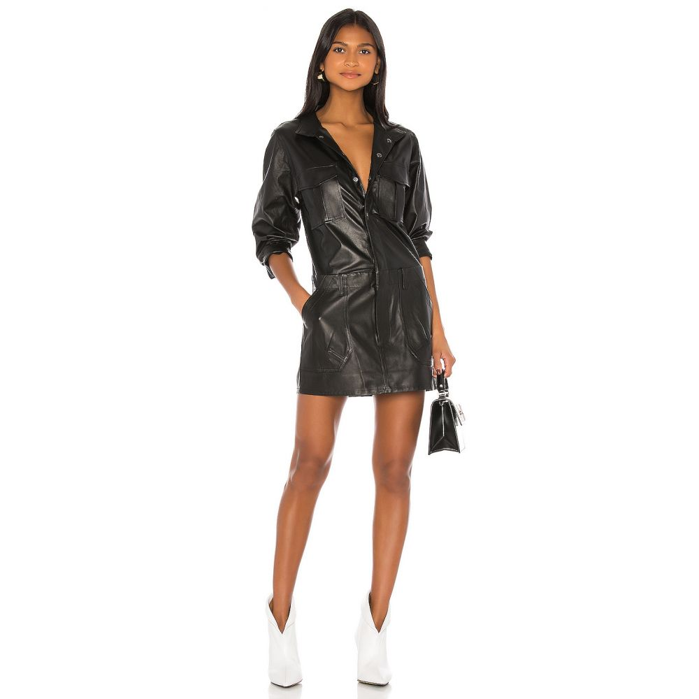 フレーム FRAME レディース ワンピース ワンピース・ドレス【Leather Cargo Dress】Noir