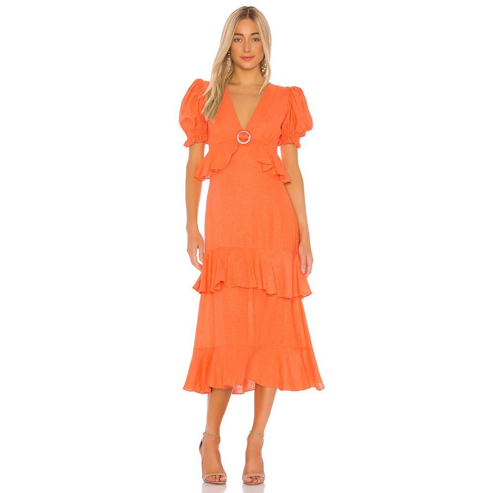 イオラネ IORANE レディース ワンピース ワンピース・ドレス【Linen Ruffle Midi Dress】Coral