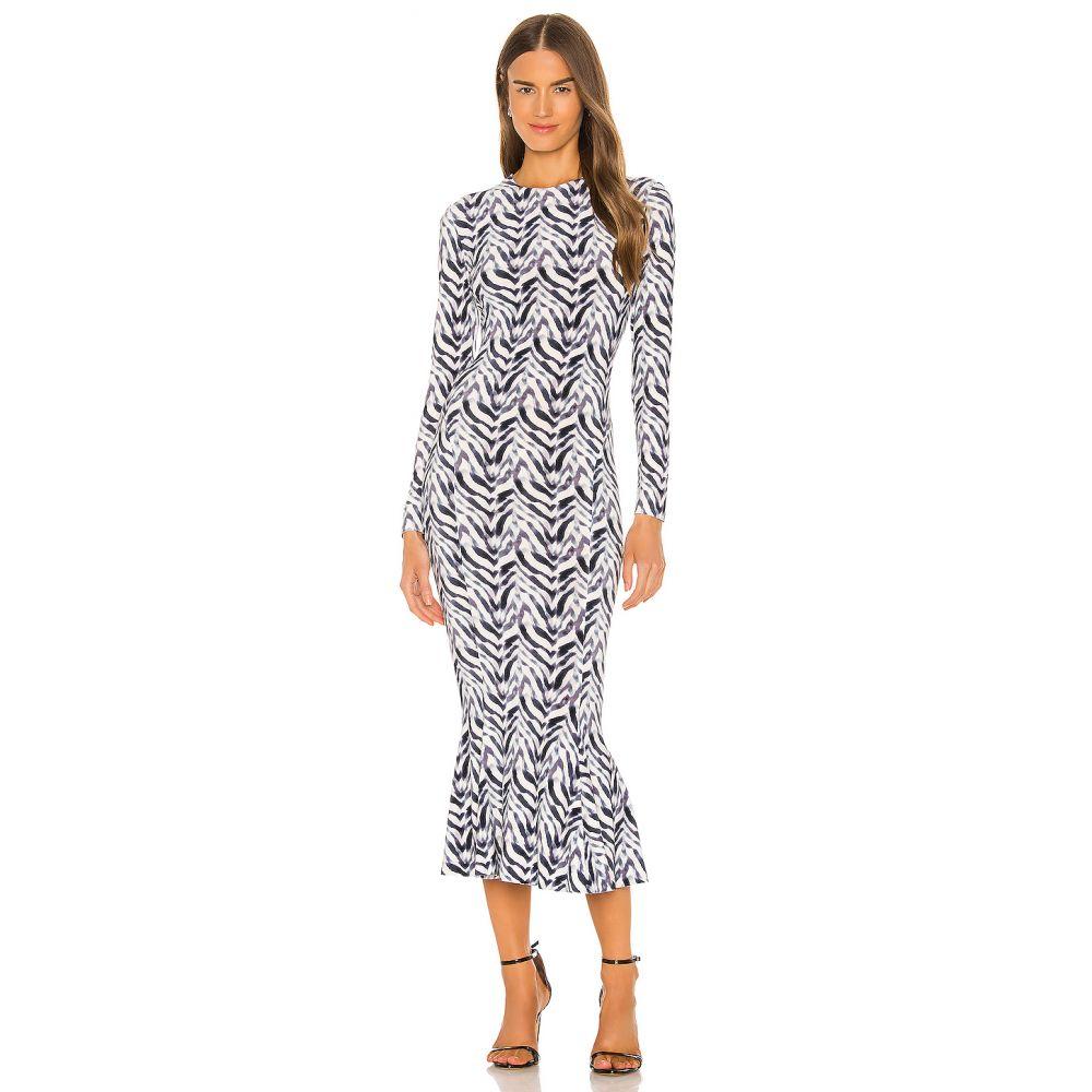 ノーマ カマリ Norma Kamali レディース ワンピース ワンピース・ドレス【Long Sleeve Crew Fishtail Dress】Chevron Zebra