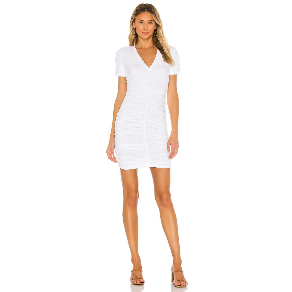 モンロー MONROW レディース ワンピース ワンピース・ドレス【Shirred V Dress】White