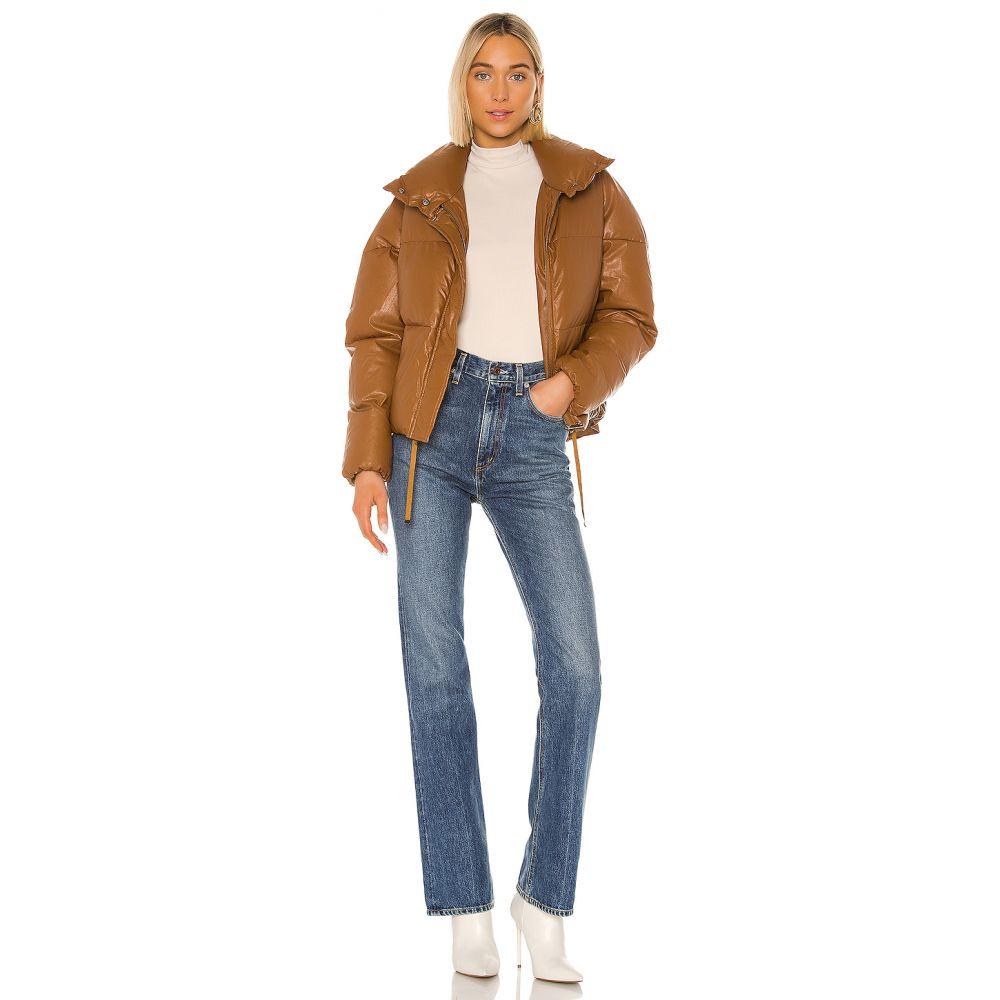 アパリス Apparis レディース ダウン・中綿ジャケット アウター【Camila Vegan Leather Puffer Jacket】Camel