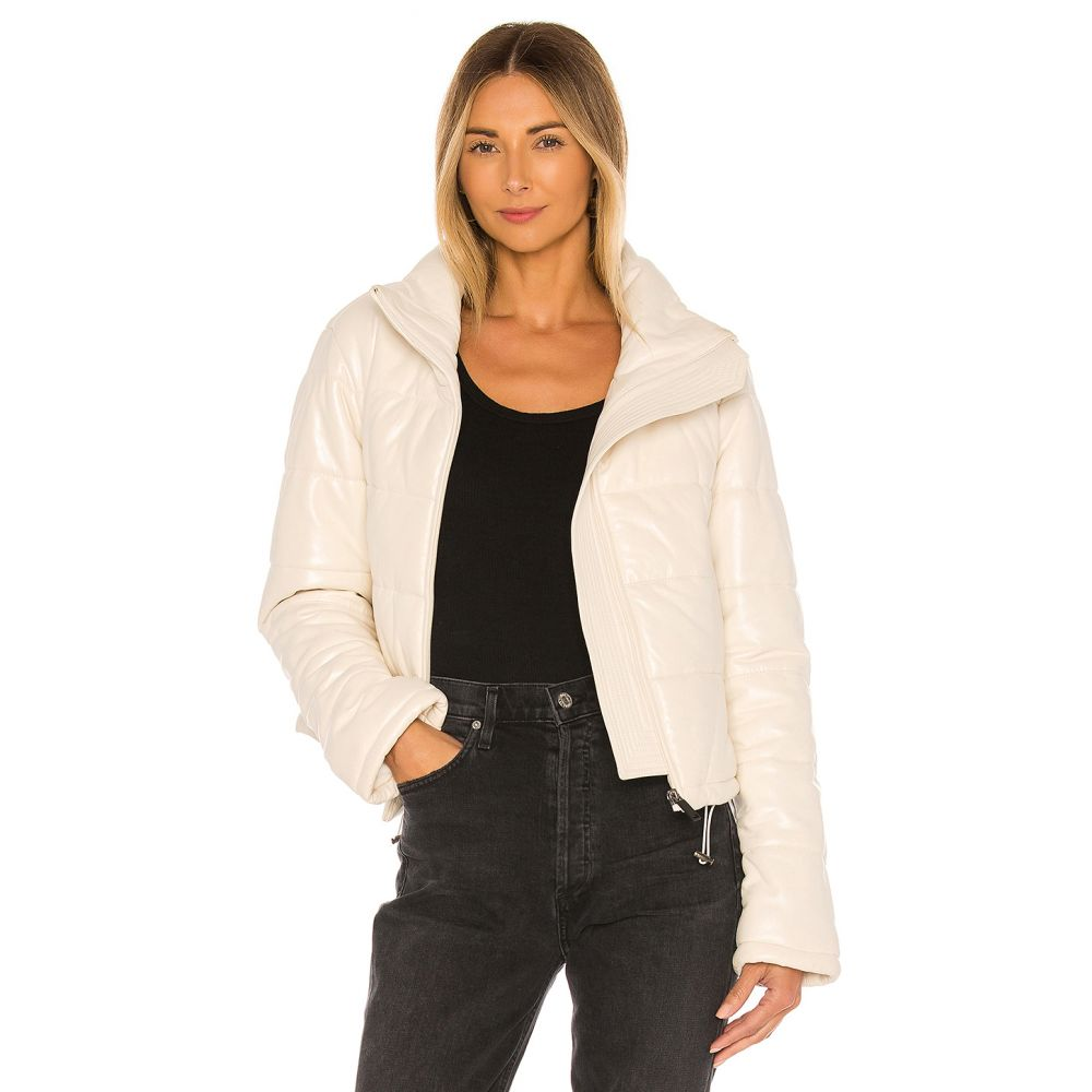 LTH JKT レディース ダウン・中綿ジャケット アウター【Cay Cropped Leather Puffer Jacket】Pearl White