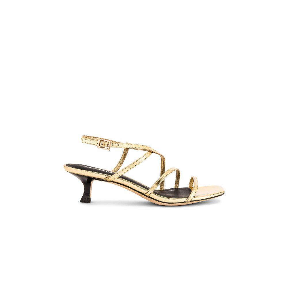 ローラ クルス Lola Cruz レディース サンダル・ミュール シューズ・靴【Saturn Mirror Kitten Heel Sandals】Gold