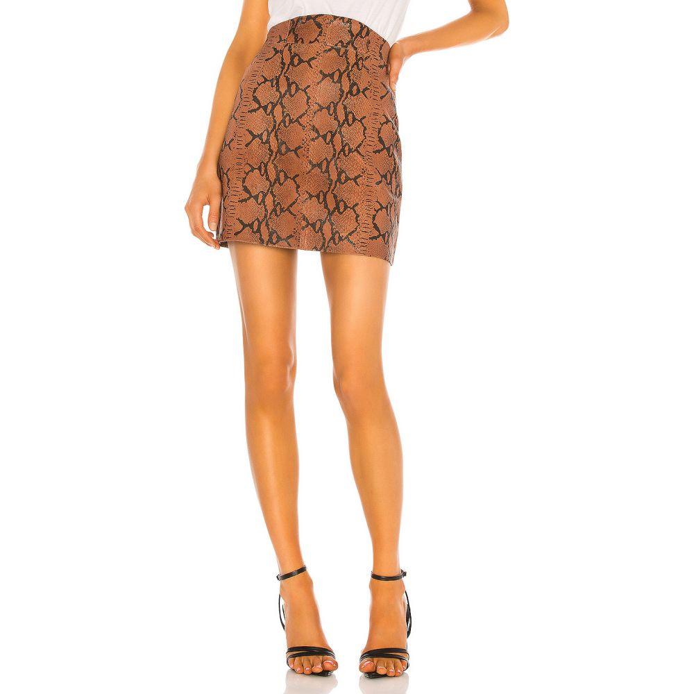 カミラ コエーリョ Camila Coelho レディース ミニスカート スカート【Luana Leather Mini Skirt】Brown Snake