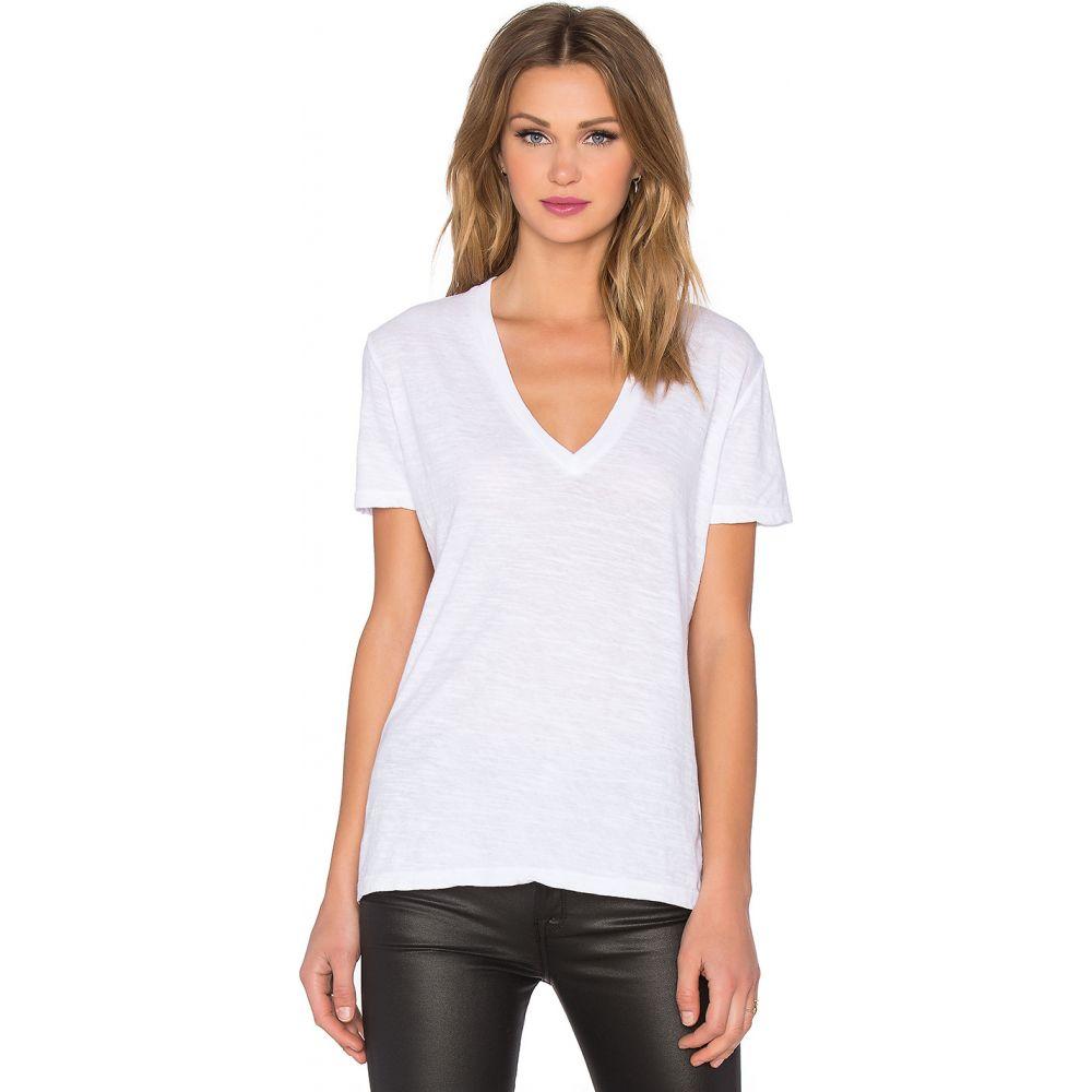 モンロー MONROW レディース Tシャツ Vネック トップス【Oversized V Neck Tee】White