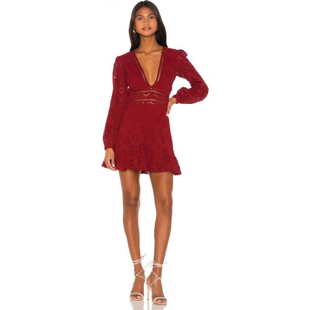 ラヴァーズフレンズ Lovers + Friends レディース ワンピース ミニ丈 ワンピース・ドレス【Jain Mini Dress】Deep Red