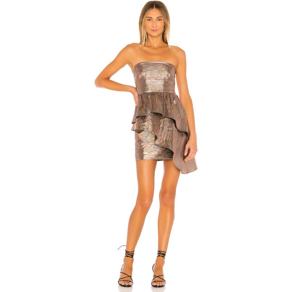ラヴァーズフレンズ Lovers + Friends レディース ワンピース ミニ丈 ワンピース・ドレス【Albright Mini Dress】Striped Metallic