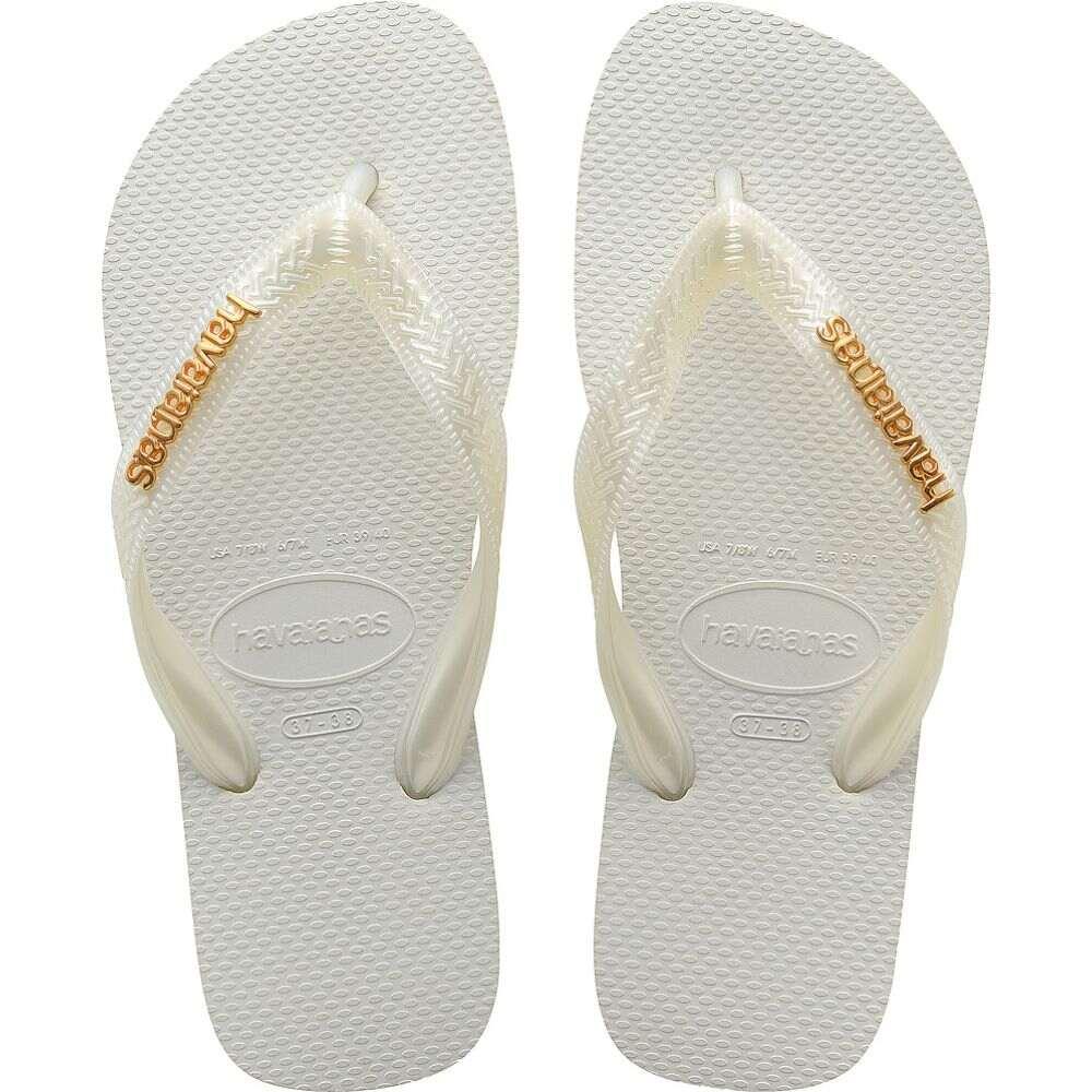 ハワイアナス レディース シューズ 靴 ビーチサンダル White 手数料無料 現金特価 サイズ交換無料 Havaianas logo top metallic havaianas sandal