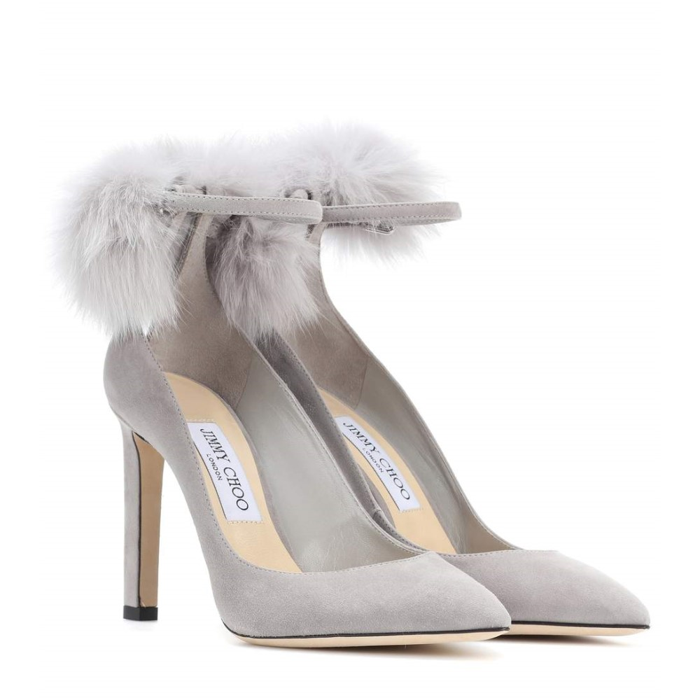 ジミー チュウ レディース シューズ・靴 パンプス【South 100 fur-trimmed suede pumps】moonstone grey