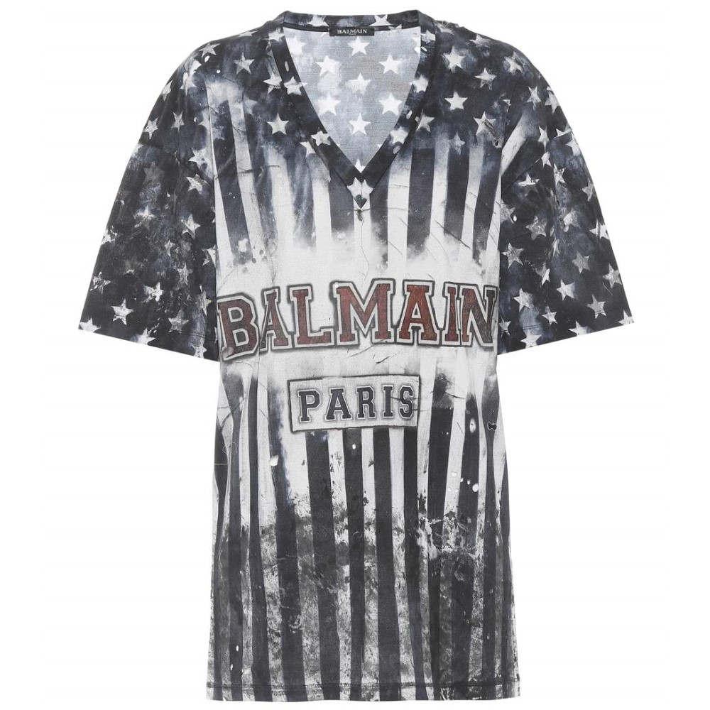 バルマン レディース トップス Tシャツ【Printed cotton T-shirt】Multicoleur Bleu