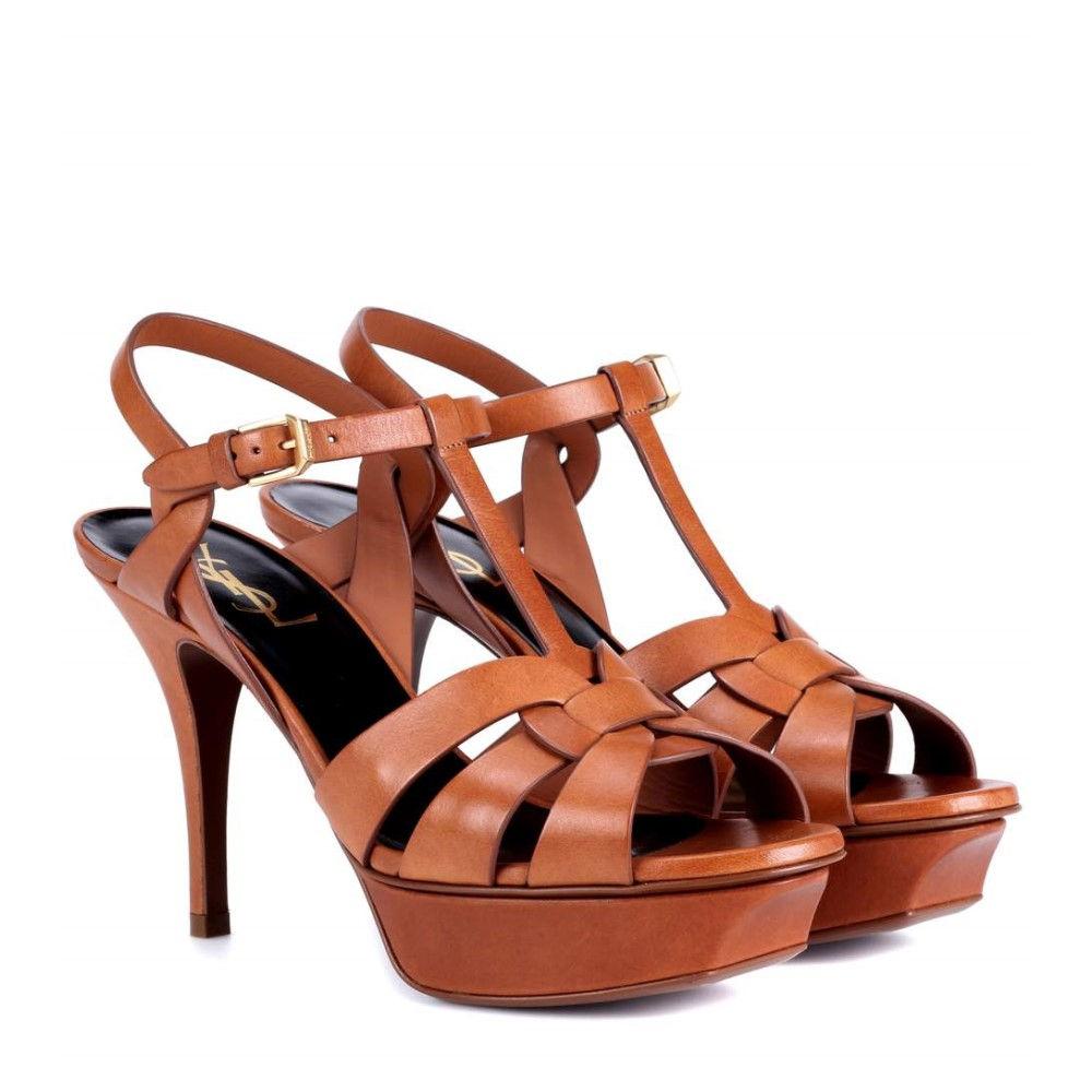 イヴ サンローラン レディース シューズ・靴 サンダル・ミュール【Classic Tribute 75 leather plateau sandals】Ambra