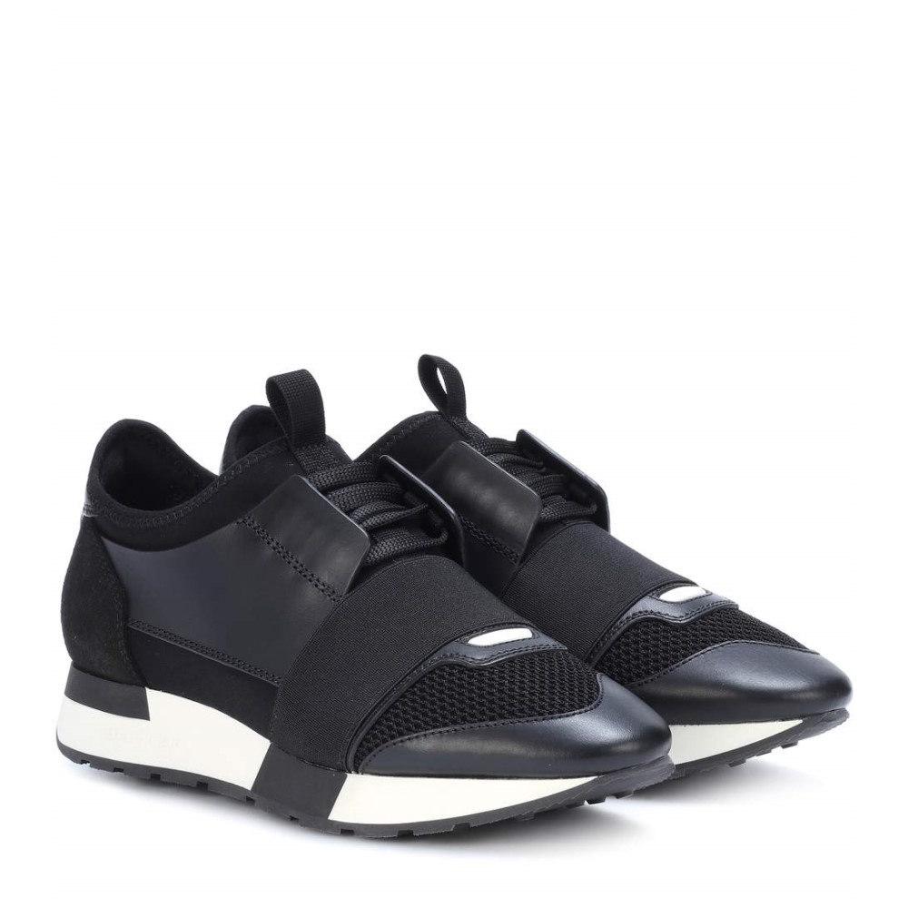 バレンシアガ レディース シューズ・靴 スニーカー【Leather-trimmed sneakers】Noir