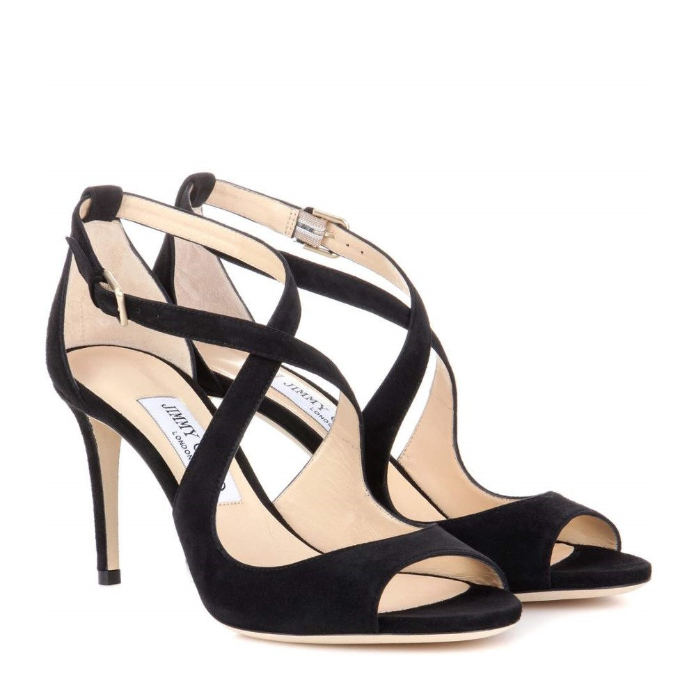 ジミー チュウ レディース シューズ・靴 サンダル・ミュール【Emily 85 suede sandals】Black