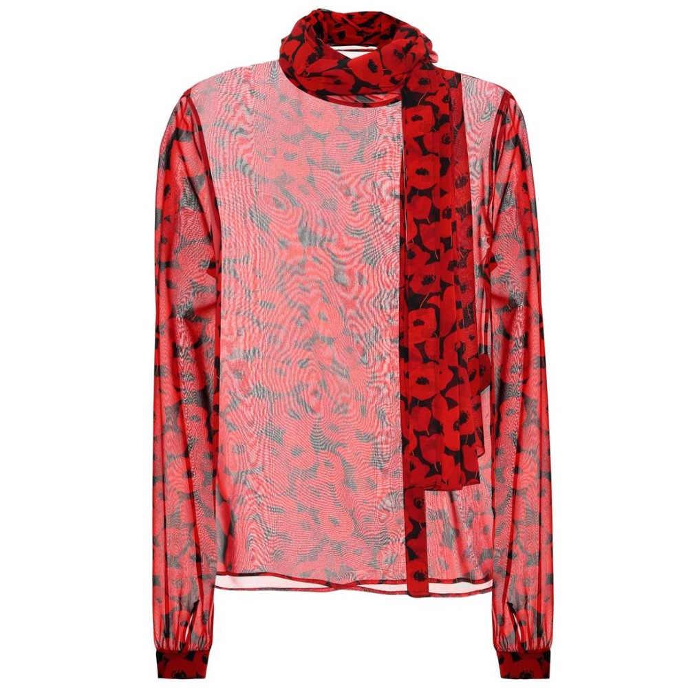 イヴ サンローラン レディース トップス ブラウス・シャツ【Printed silk blouse】Noir/Rouge