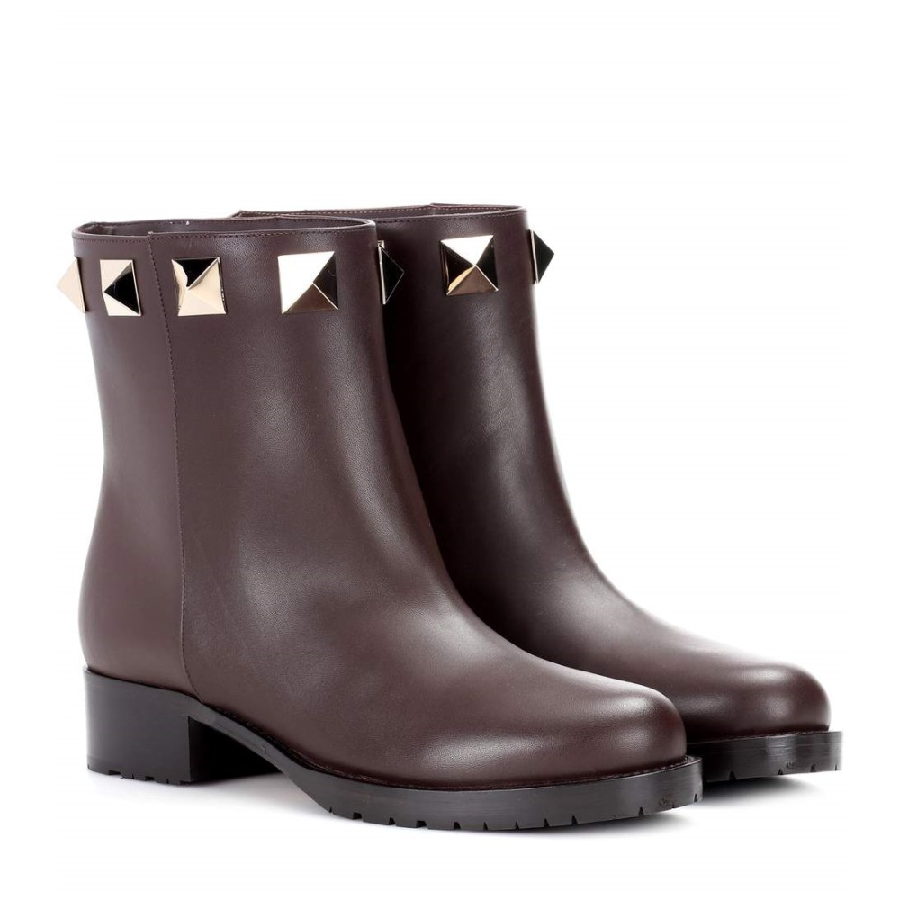 ヴァレンティノ レディース boots】Dark シューズ・靴 ブーツ レディース【Valentino Garavani leather brown ankle boots】Dark brown, Jos Brand Select Shop:a8e7fcfb --- sunward.msk.ru