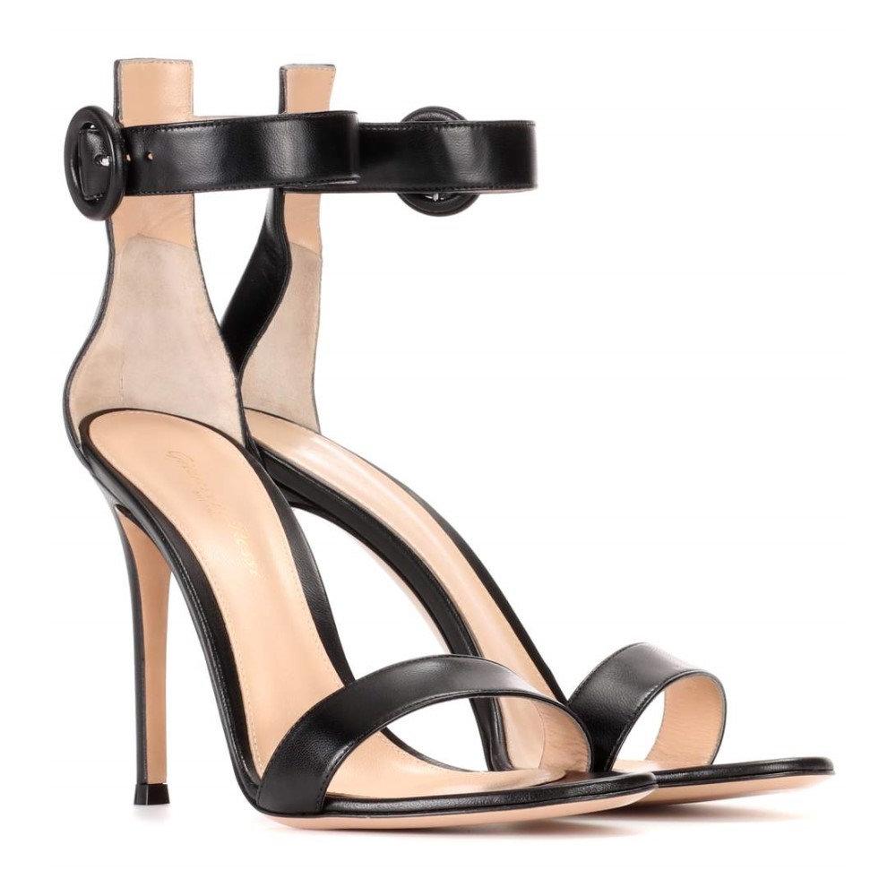 ジャンヴィト ロッシ レディース シューズ・靴 サンダル・ミュール【Portofino 105 leather sandals】BLACK
