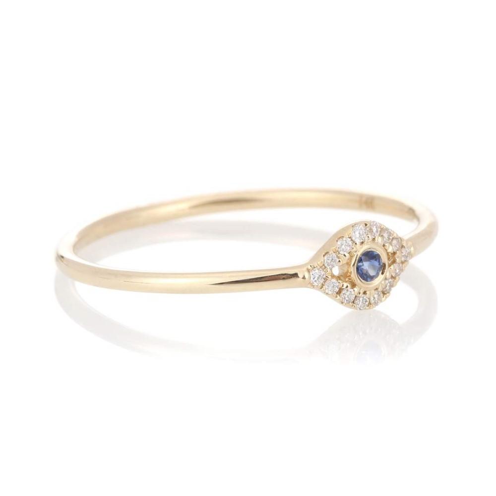 シドニーエヴァン レディース ジュエリー・アクセサリー 指輪・リング【Small Bezel Evil Eye 14kt gold ring with diamonds and sapphire】