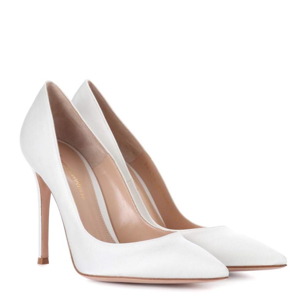 ジャンヴィト ロッシ レディース シューズ・靴 パンプス【Gianvito 105 silk-satin pumps】Off White