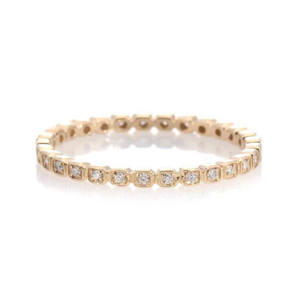 アンナシェフィールド レディース ジュエリー・アクセサリー 指輪・リング【Anello Tiny Wheat 14kt yellow gold ring with diamonds】