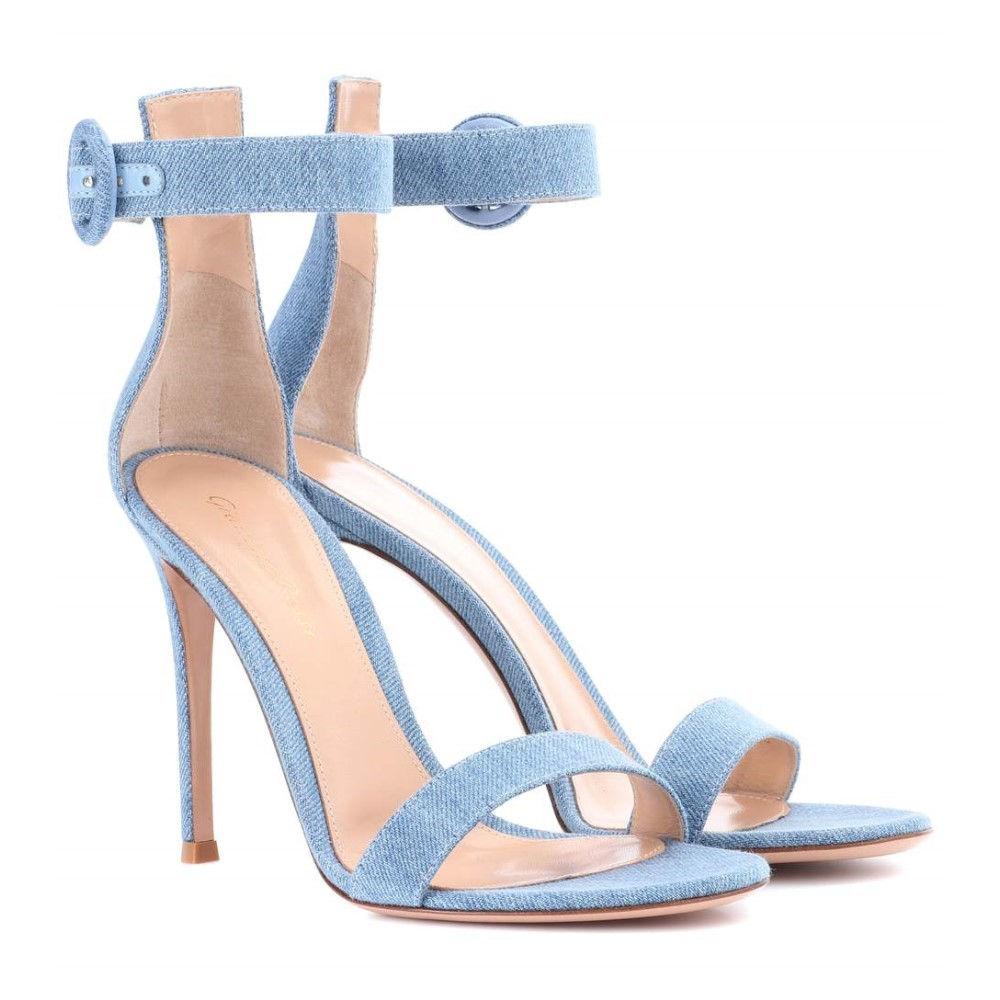 ジャンヴィト ロッシ レディース シューズ・靴 サンダル・ミュール【Portofino 105 denim sandals】Stonewash