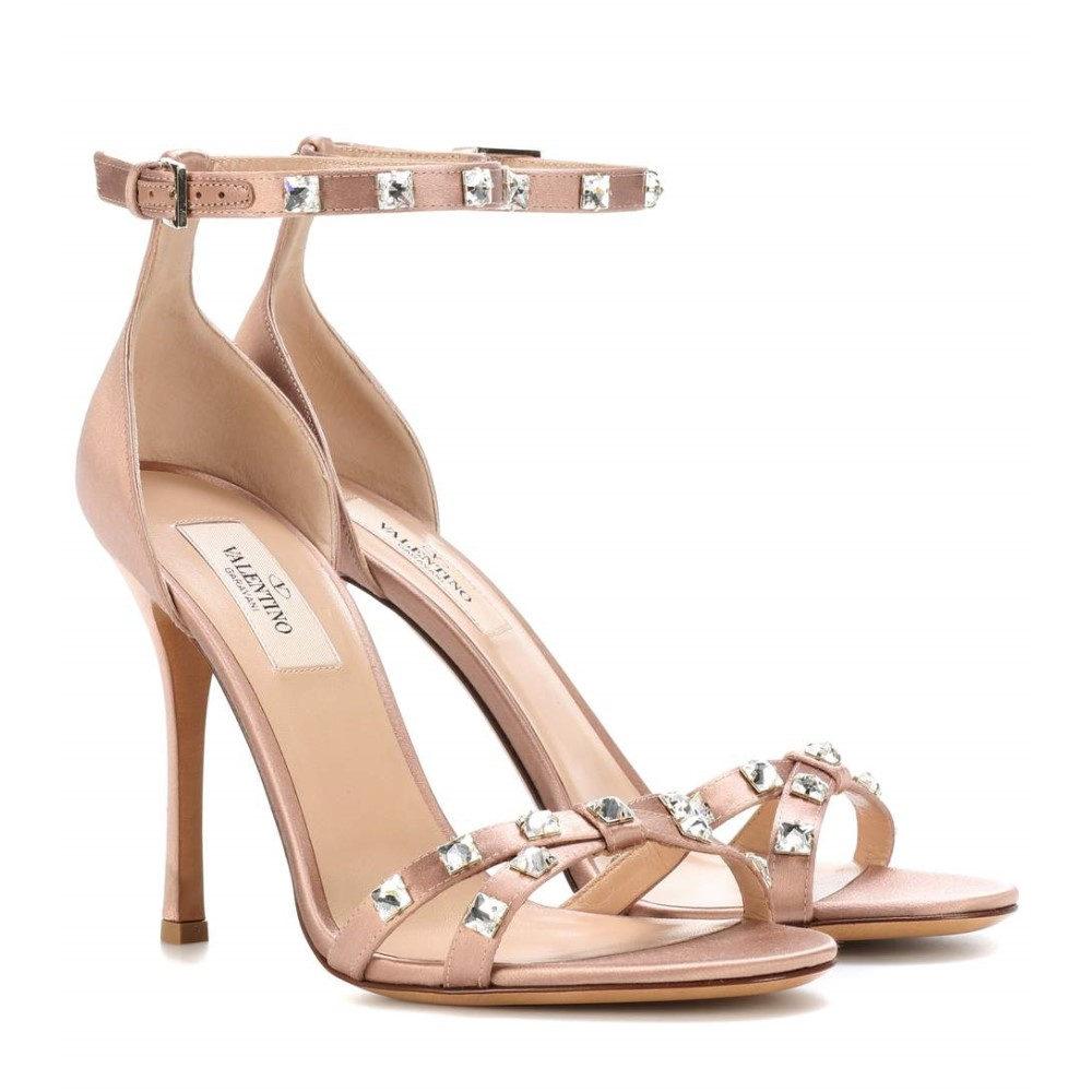 ヴァレンティノ レディース シューズ・靴 サンダル・ミュール【Valentino Garavani Rockstud Glam satin sandals】Poudre