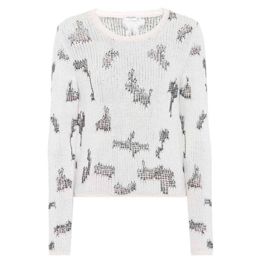 イヴ サンローラン レディース トップス ニット・セーター【Cashmere sweater】White/Black