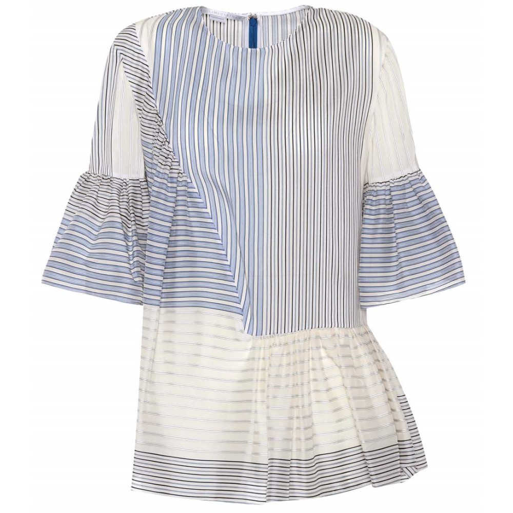ステラ マッカートニー レディース トップス【Cotton and silk printed top】Blue Stripe