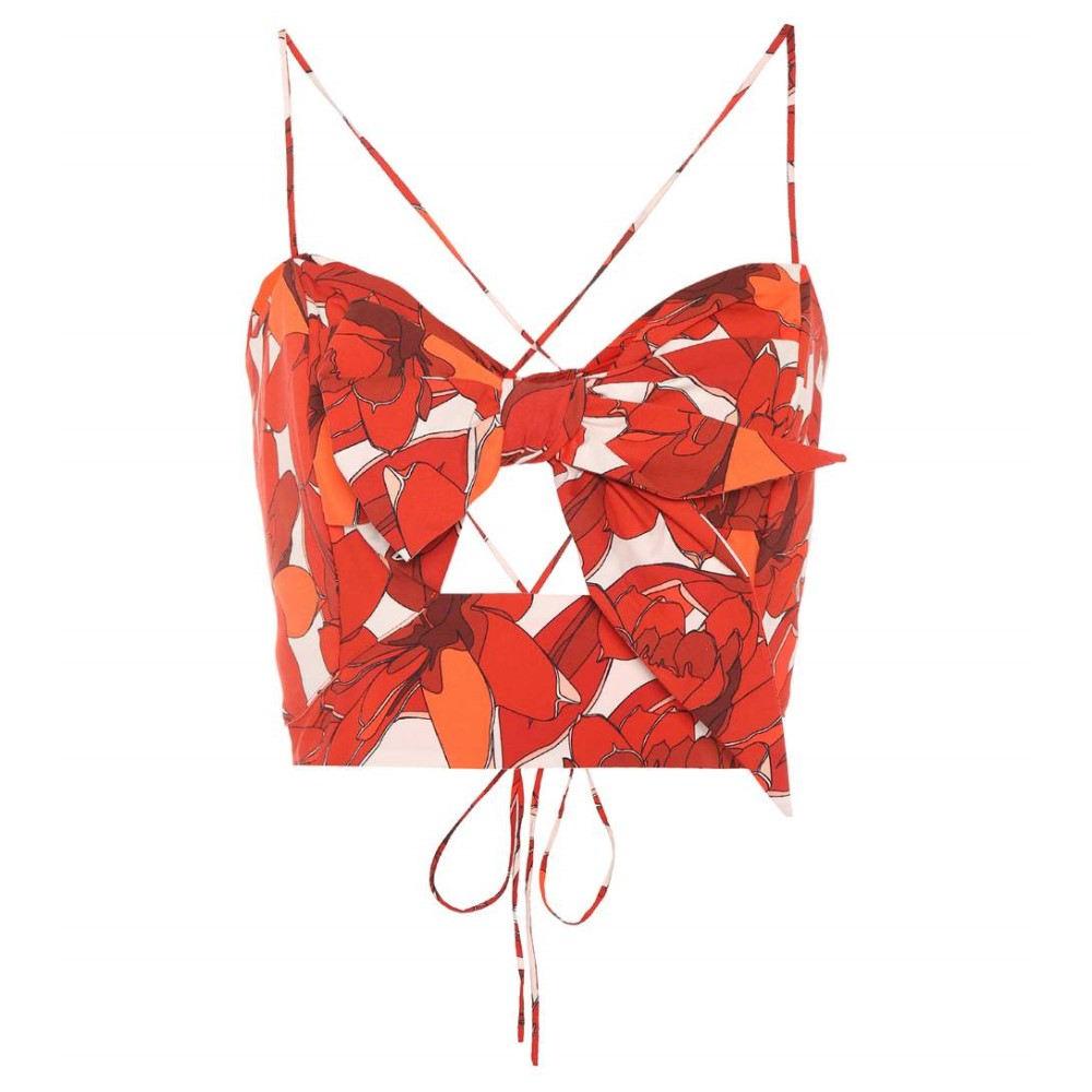 ジョアンナオッティ レディース トップス【Calico Roses printed cotton top】RED WHITE