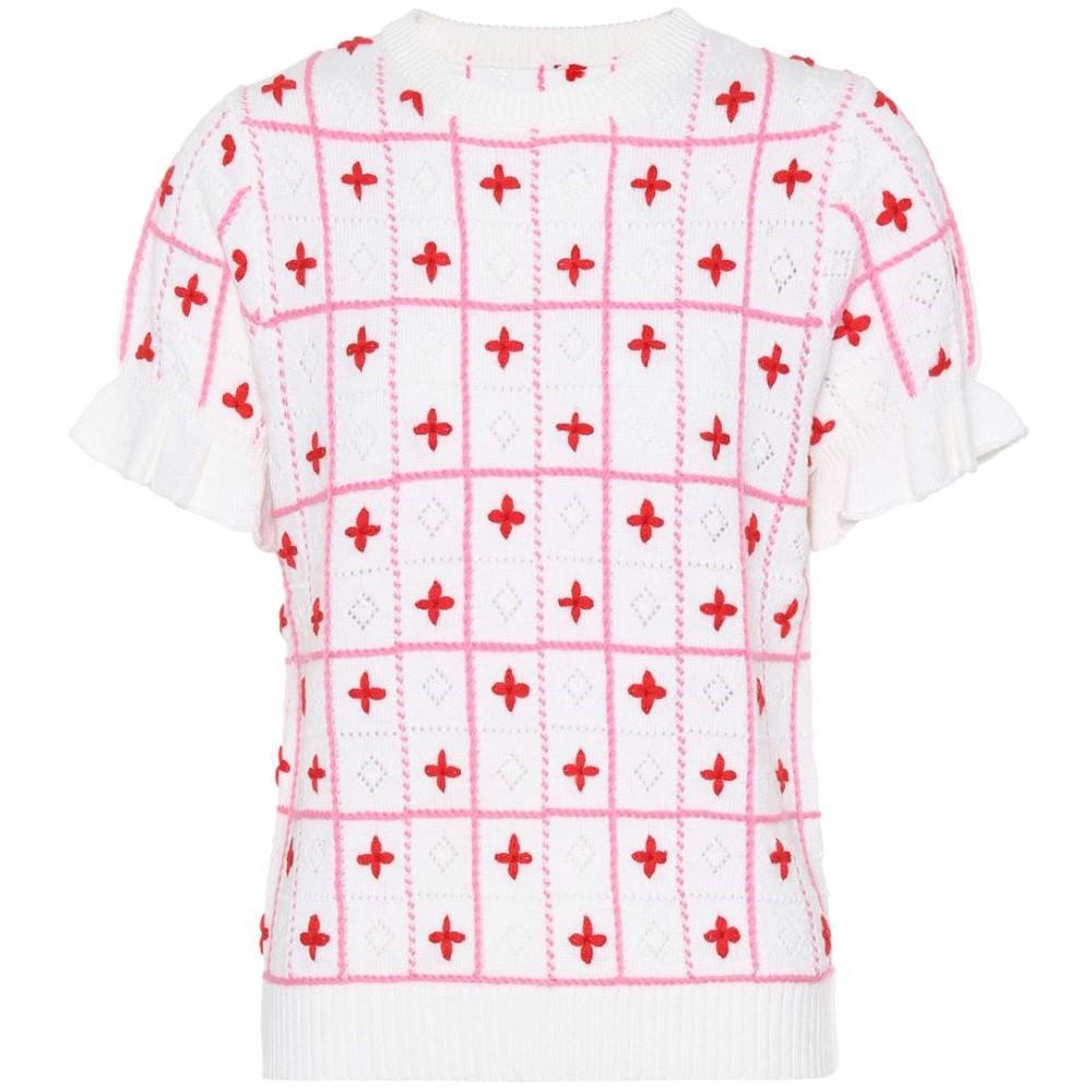 シュリンプス レディース トップス ニット・セーター【Embroidered wool sweater】White Pink