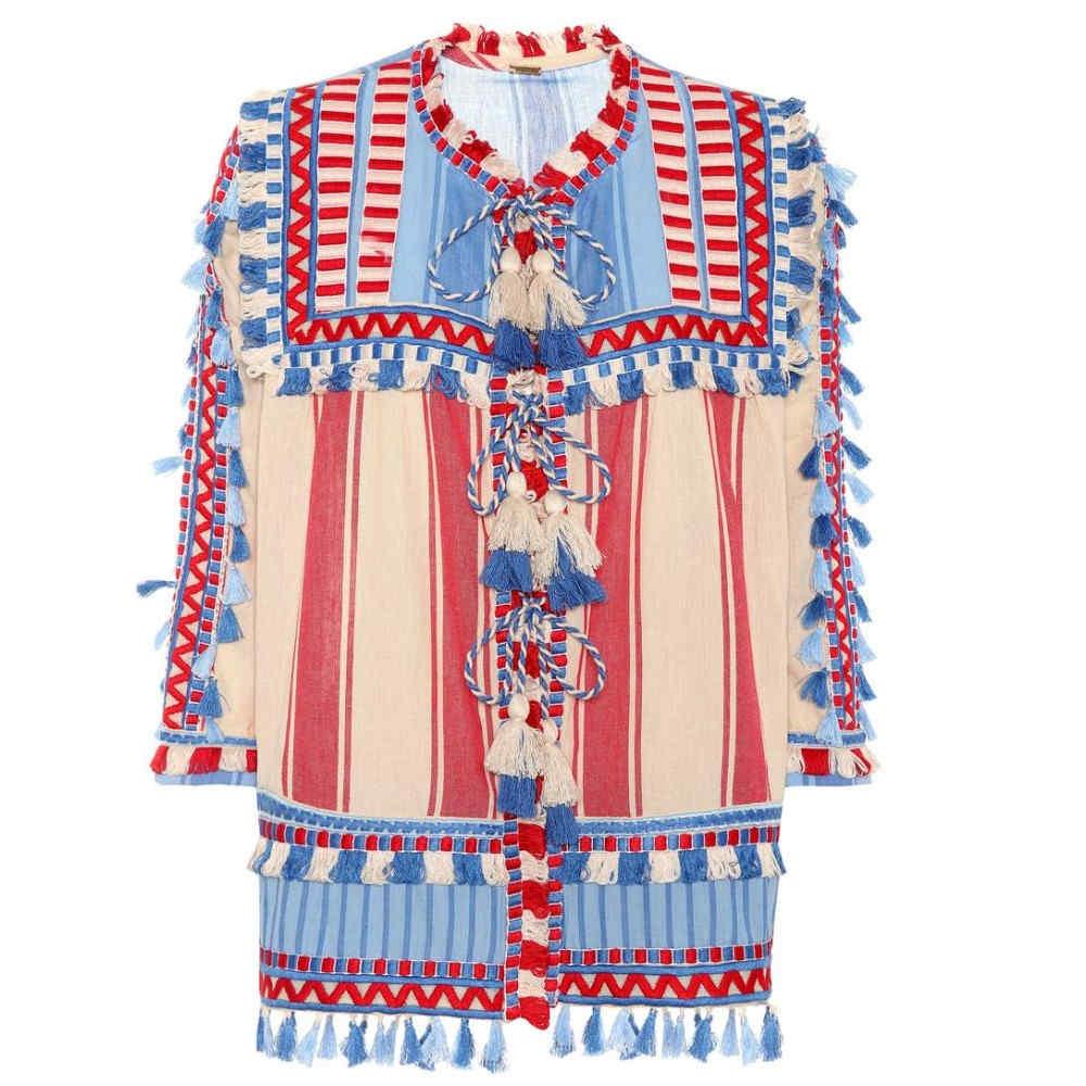 ドド バー オア レディース トップス ブラウス・シャツ【Tasselled cotton gauze blouse】Blue/Red