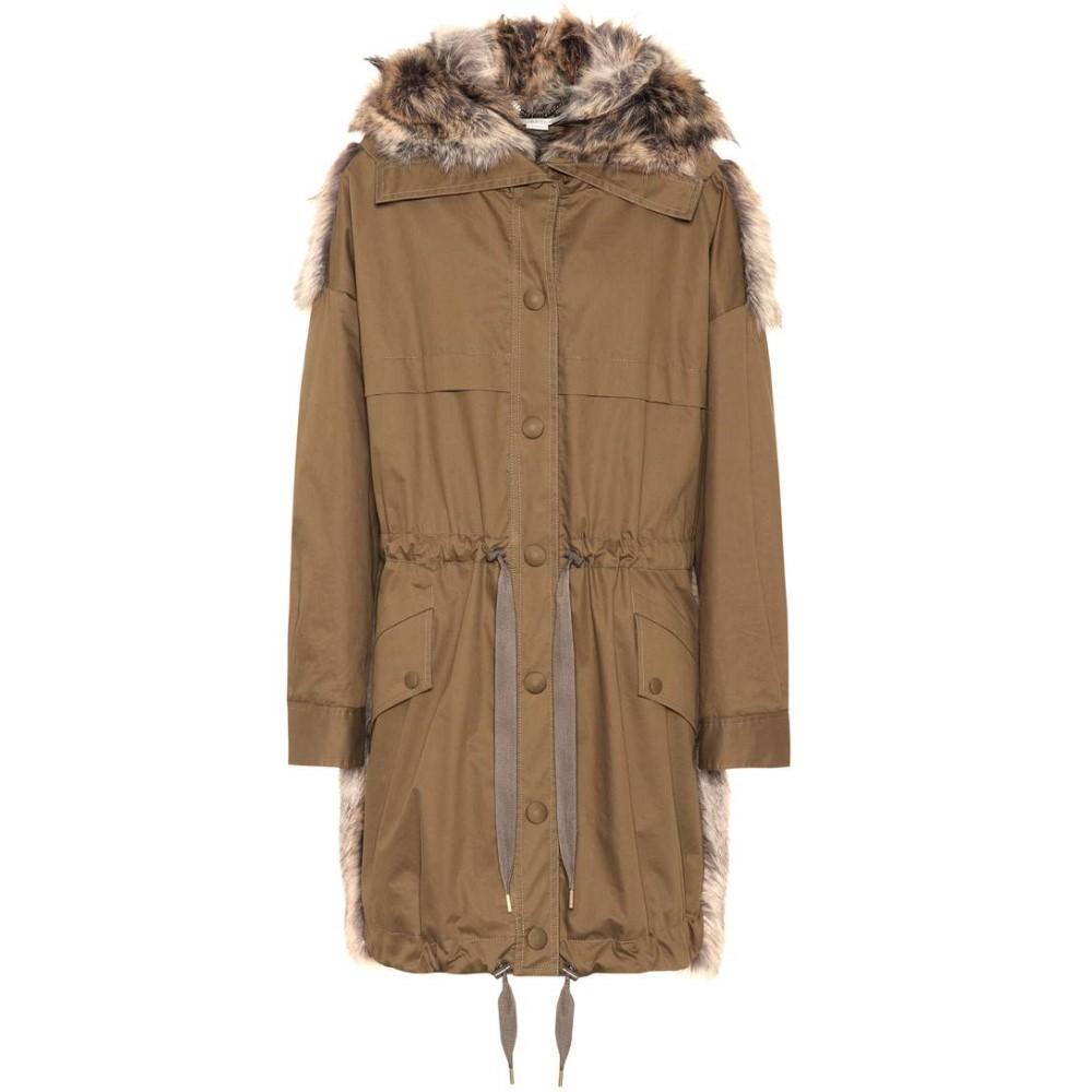 ステラ マッカートニー レディース アウター コート【Faux fur-trimmed coat】mud