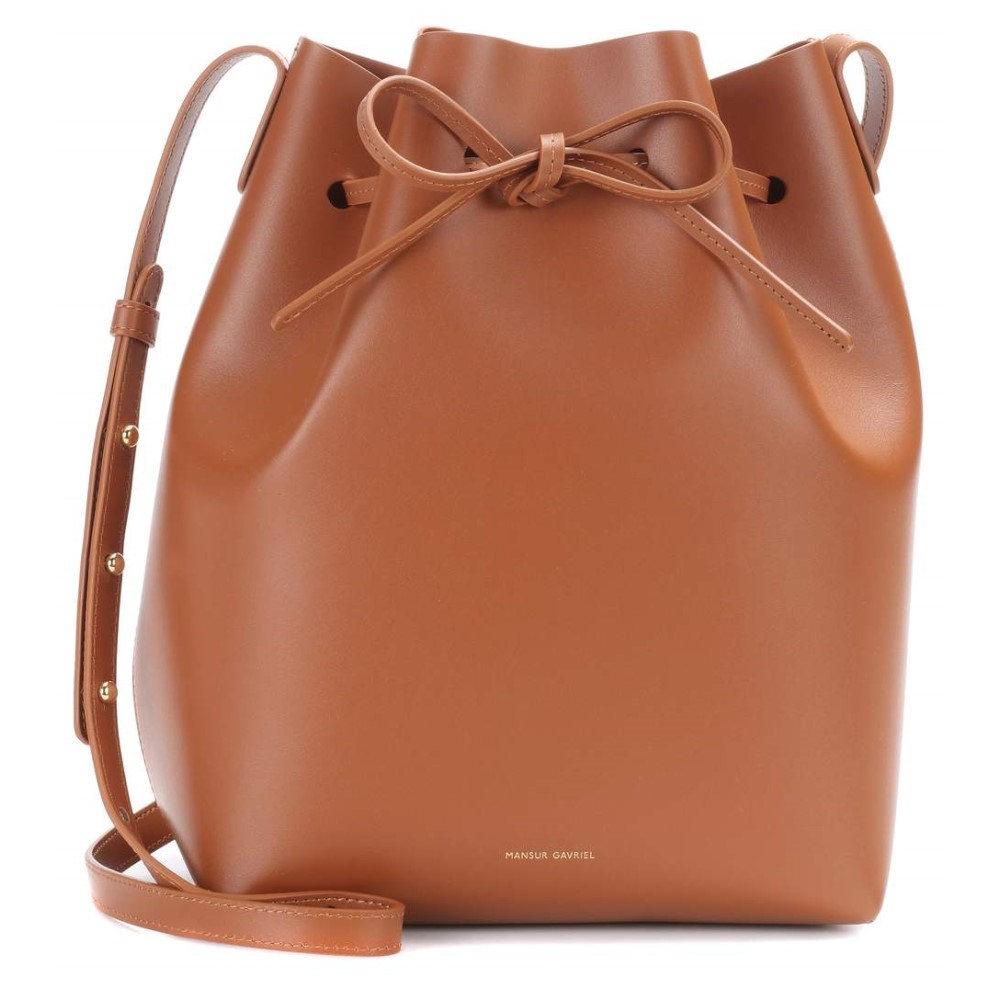 マンサーガブリエル レディース バッグ ショルダーバッグ【Leather bucket bag】Saddle