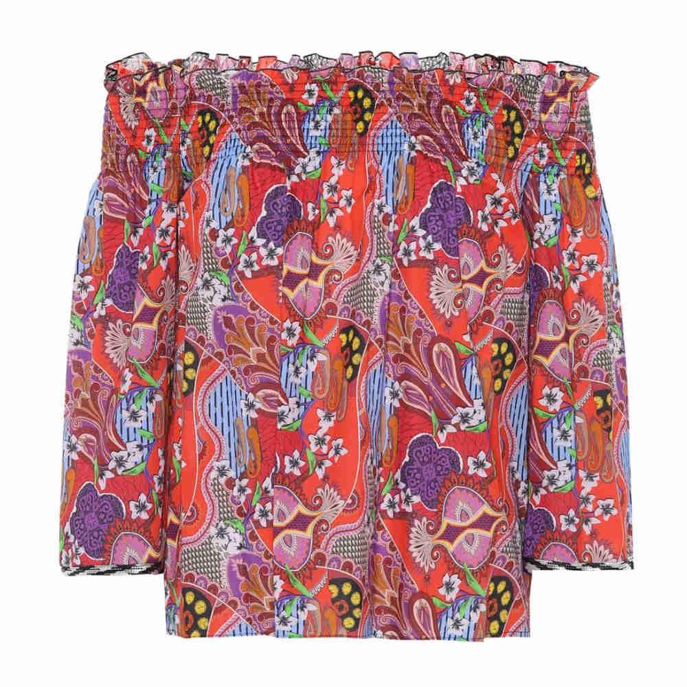エトロ レディース トップス オフショルダー【Printed off-the-shoulder cotton top】Red/Multi