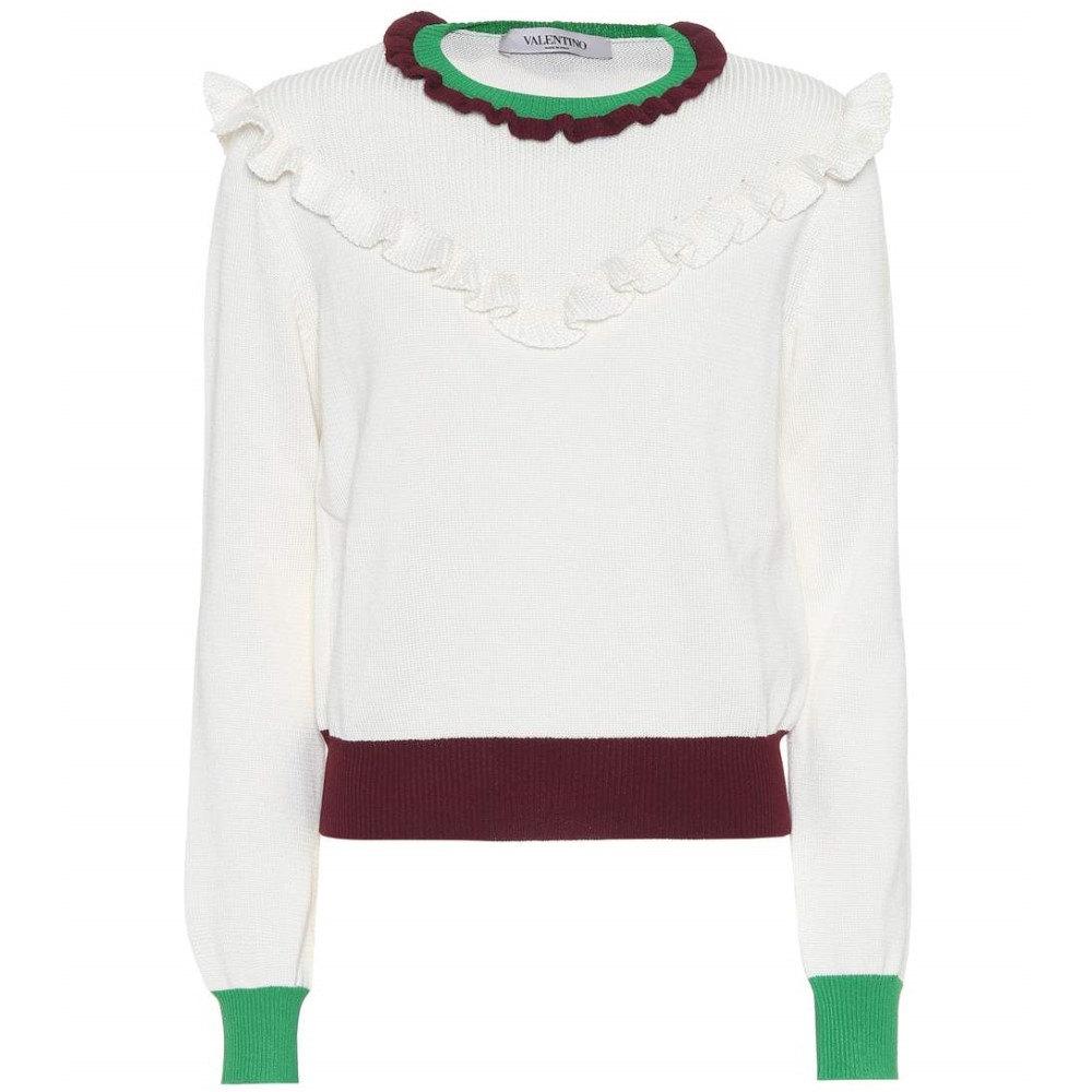 ヴァレンティノ レディース トップス ニット・セーター【Cotton sweater】Ivory/Vinaccia/Peppermint