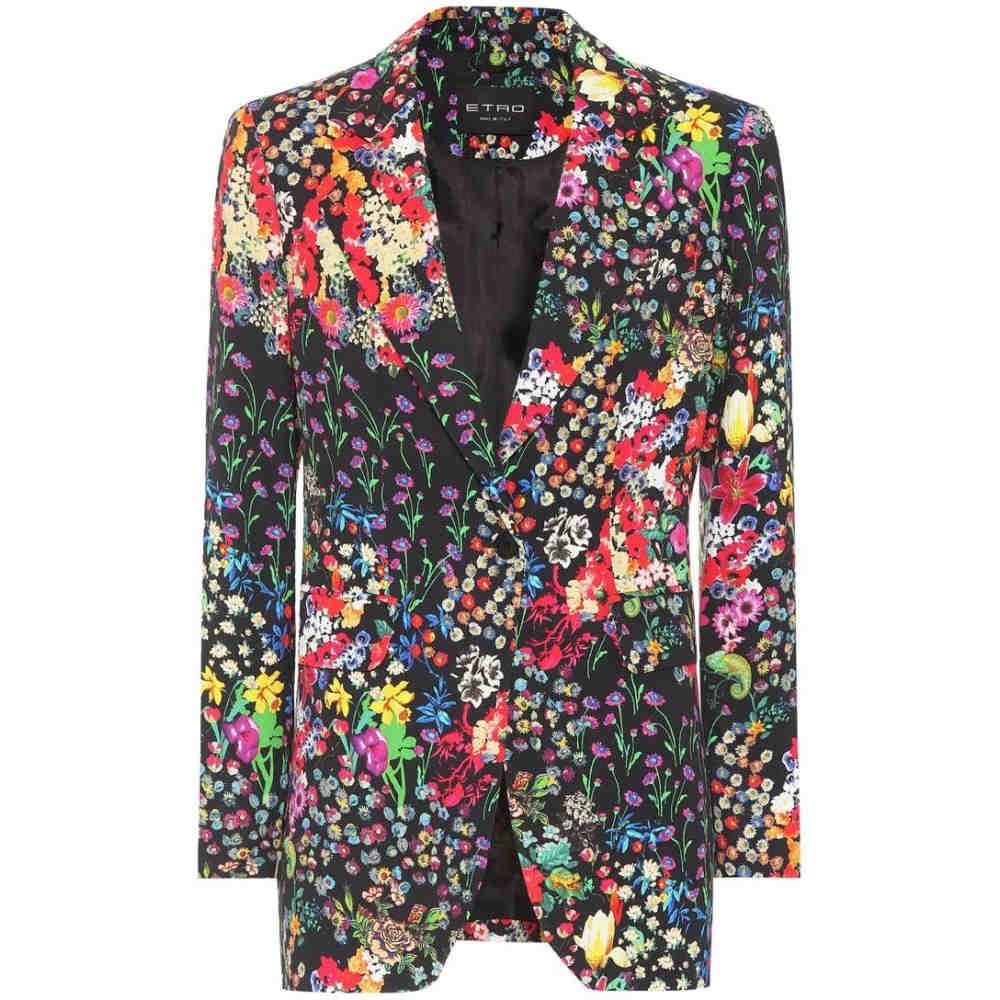 エトロ レディース アウター スーツ・ジャケット【Floral-printed blazer】Black