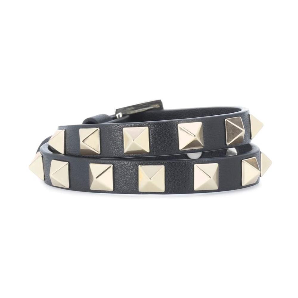 ヴァレンティノ レディース ジュエリー・アクセサリー ブレスレット【Valentino Garavani Rockstud leather bracelet】Nero