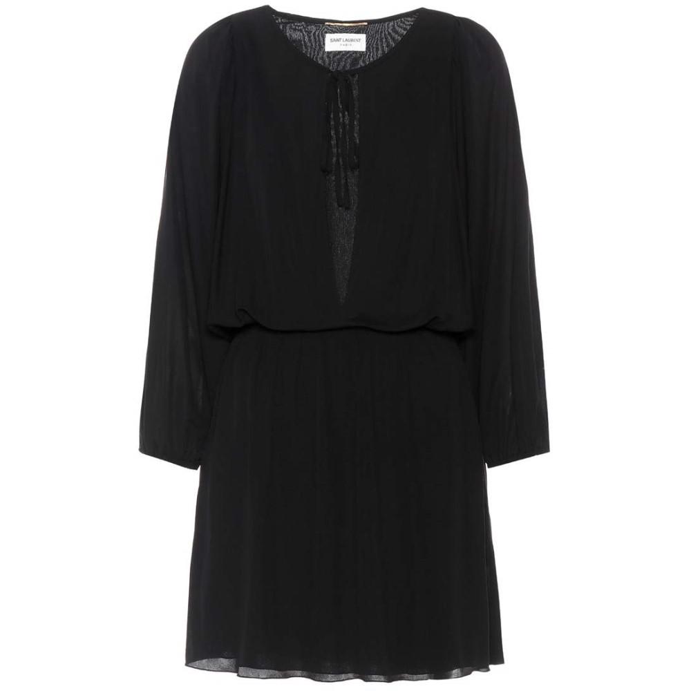 イヴ サンローラン レディース ワンピース・ドレス ワンピース【Crepe minidress】Black