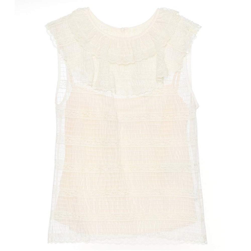 レッド ヴァレンティノ レディース トップス【Sleeveless lace top】Ivory
