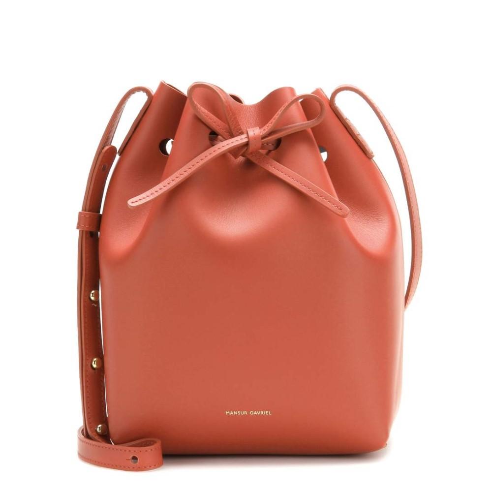 マンサーガブリエル レディース バッグ ショルダーバッグ【Mini Bucket leather crossbody bag】Brandy/Avion