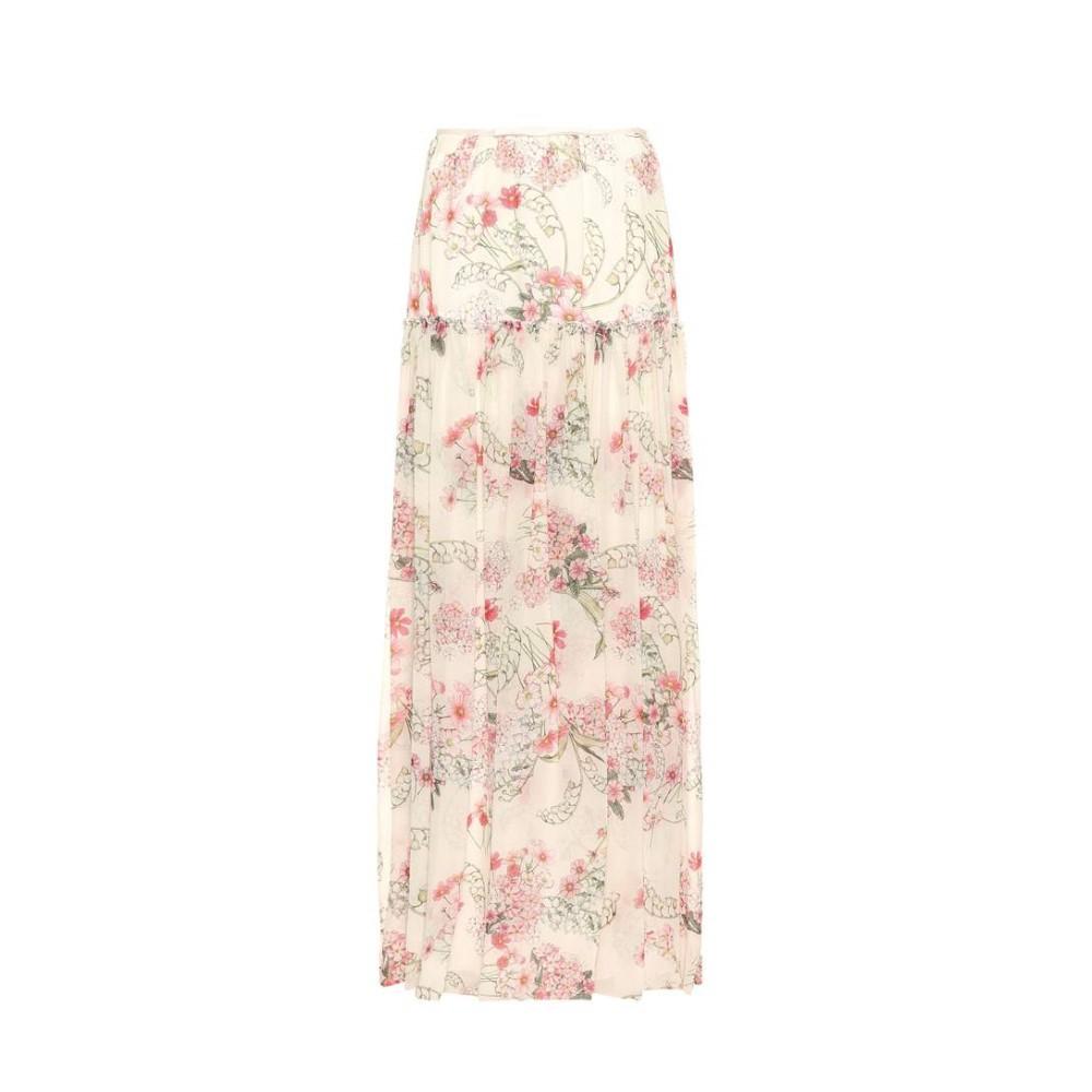 ジャンバティスタ バリ レディース スカート ロング・マキシ丈スカート【Floral-printed silk skirt】Avorio
