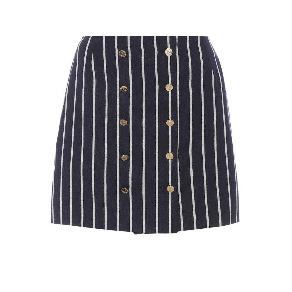 トム ブラウン レディース スカート ミニスカート【Striped wool and cotton miniskirt】Navy