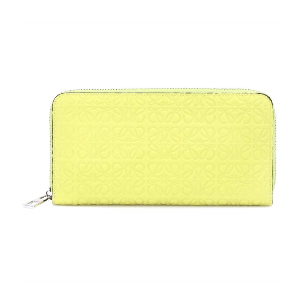 ロエベ レディース 財布【Embossed leather wallet】Yellow Lemon
