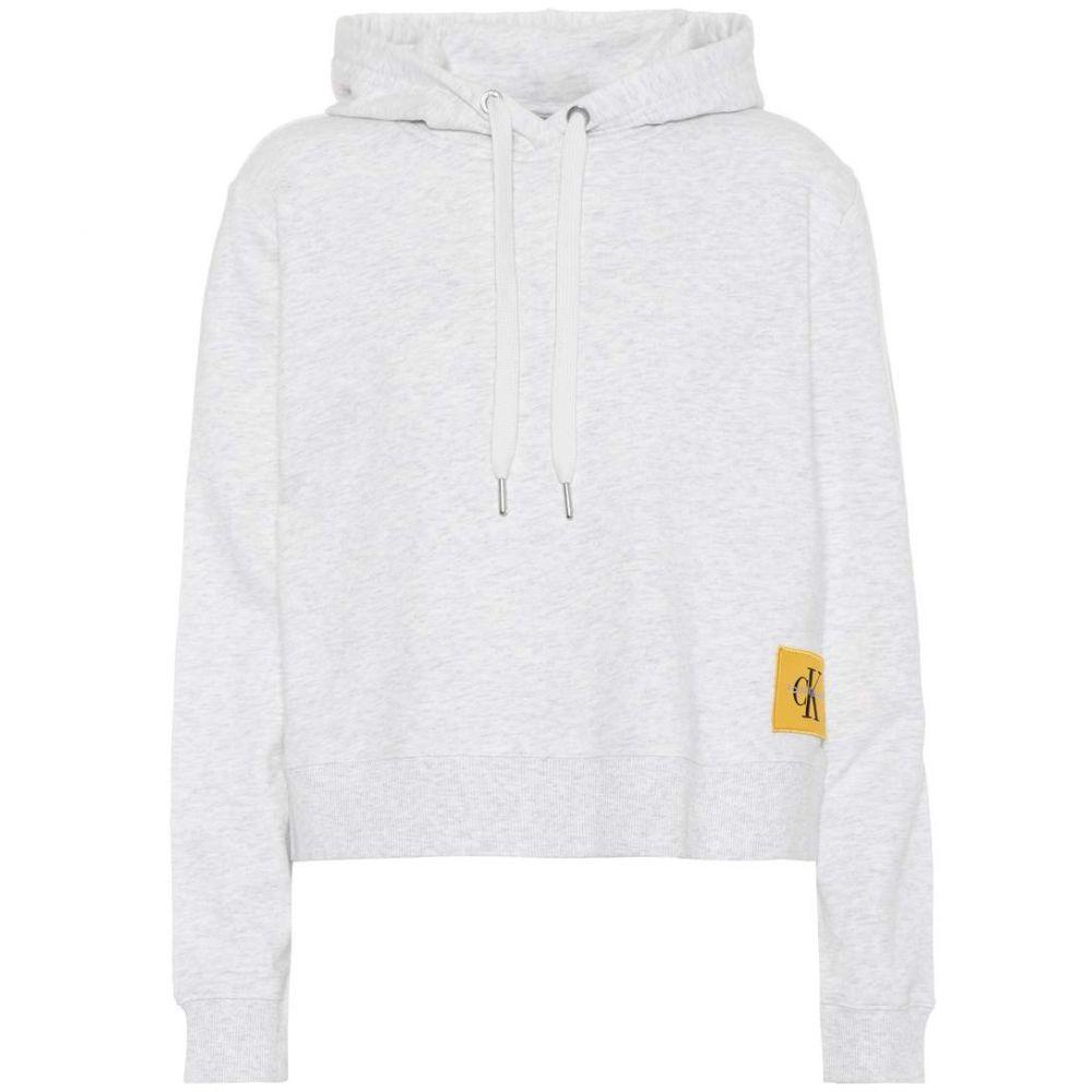 カルバンクライン レディース トップス パーカー【Cotton-blend hoodie】White/Grey Melange